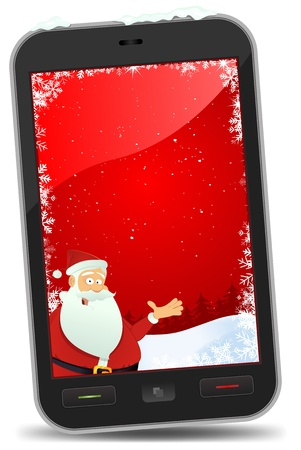 Illustration of a smartphone screen with christmas wallpaper inside and Santa Claus  character showing advertisement banner Vector