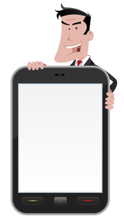 man holding a blank sign: Illustration of an advertisement sign for smartphone, hold by a cartoon businessman Illustration
