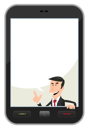 Illustration of a cartoon businessman inside smartphone background with speech  bubble