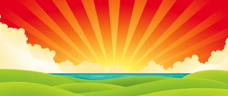 Ilustración de un amanecer de verano de dibujos animados o el paisaje puesta de sol sobre el océano con los campos verdes en primer plano