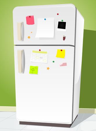 Illustratie van een cartoon witte koelkast met notities en keuken achtergrond