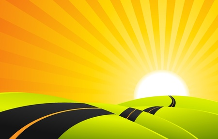 Ilustración de un camino de paisaje de dibujos animados en la salida del sol