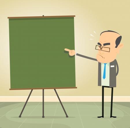 教師: 一個卡通的老教師的教學插圖道德觀念和紀律