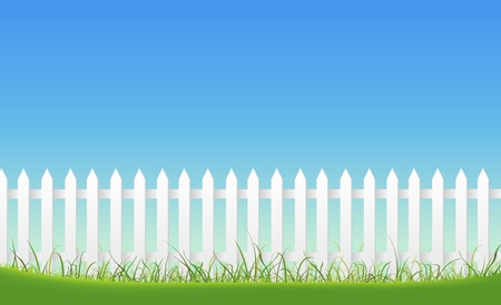 grass blades: Illustration of a white fence inside garden landscape, with blades of grass at the  foreground and blue sky behind.