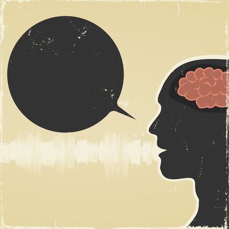 Illustration of a grunge poster with silhouette of human face, speech bubble and  noise wave symbolizing human talk Vector