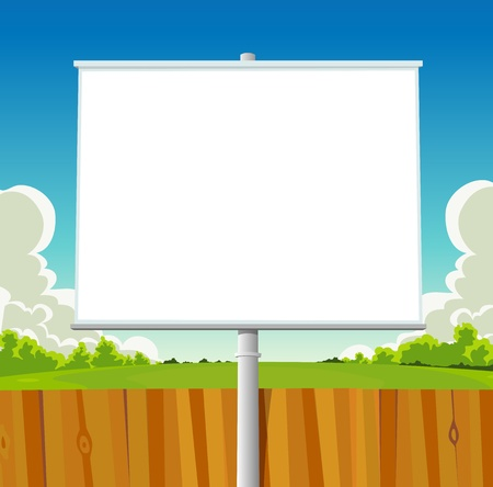 cloudscape: Illustration of a cartoon green park billboard in spring season