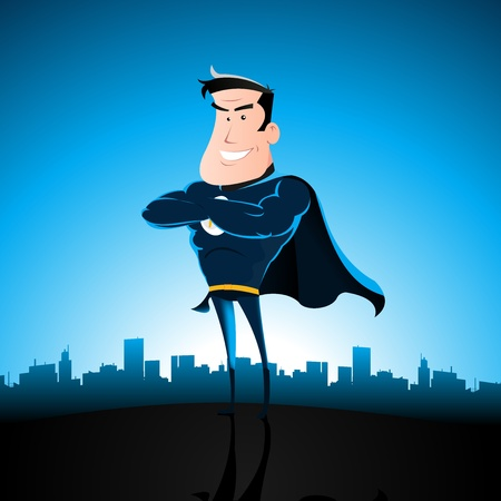 cartoon man: Illustration of a cartoon superhero standing with cityscape behind