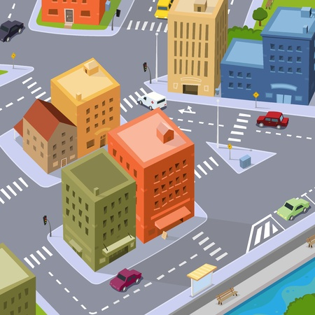 Illustration of a cartoon city, aerial view with buildings and cars driving Vector