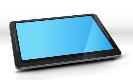 ereader: Illustration of a basic elegant tablet pc with bright blue screen. Imaginary model of tablet not made from a real existing copyrighted product. Illustration