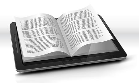 leggere rivista: Ilustration di un pc tablet e-book con le pagine realistiche flipping effetto. Modello immaginario di e-book non � fatto da un vero e proprio prodotto esistente o modello protetto da copyright Vettoriali