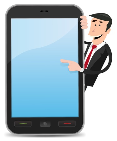 pointing device: Illustration of a cartoon funny and happy businessman pointing an advertisement sign  on a smartphone device