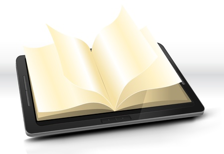 copyrighted: Illustration of a tablet pc e-book with pages flipping effect. Imaginary model of e-book not made from a real existing product or copyrighted model. Illustration