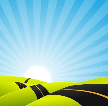 endlos: Illustration einer Karikatur lange Straße schlängelt innen Frühling oder Sommer Landschaft