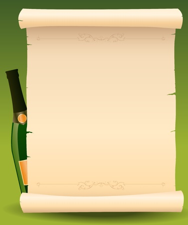 Illustration of a bottle of champagne next to parchment scroll menu for celebrating  happy new year Çizim