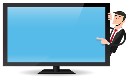 flat screen tv: Illustration of a cartoon businessman pointing a flat screen tv, for advertisement message