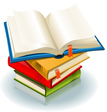 Illustration of a stack of elegant books and one book opened with page bookmark Vector