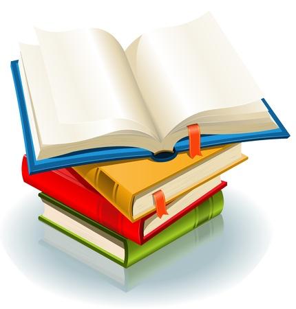 portadas de libros: Ilustraci�n de una pila de libros elegantes y un libro abierto con la p�gina de favoritos Vectores