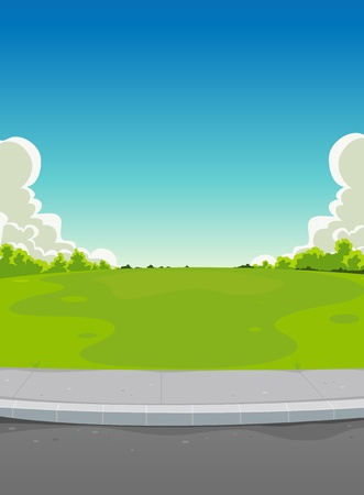 dirt road: Illustration of a cartoon urban landscape background scene, with road, pavement,green  park and horizon behind, for miscellaneous type of announcement, like neighbours parties,  music festival or else