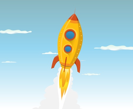 Illustration of a cartoon rocket ship or UFO flying in the sky and going outer-space