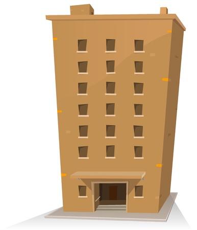 store window: Illustratie van een cartoon gebouw toren twintig kamers in Stock Illustratie