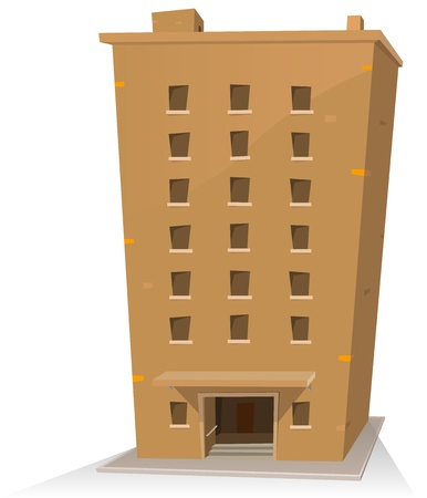 Illustration of a cartoon building tower twenty rooms inside Vector