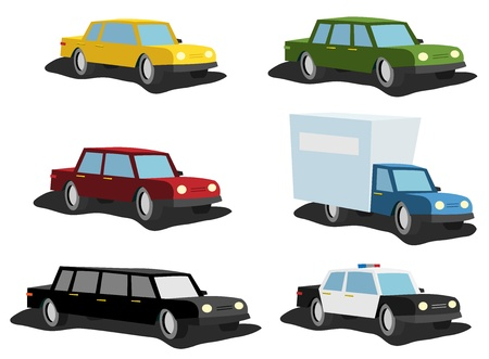 Illustration set of cartoon cars, from ordinary vehicle to police car, delivery truck or model  for vip Vector