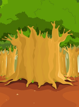 Illustration of a cartoon forest with big trees for nature background Vector