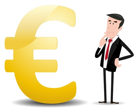 worrying: Illustration of a cartoon businessman trader worrying about what will happen in the future for euros currency