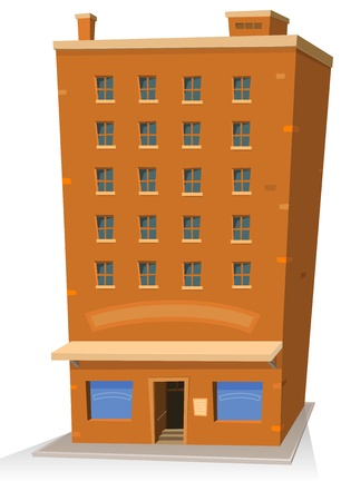 Illustration of a cartoon shop building tower with apartments upstairs Vector