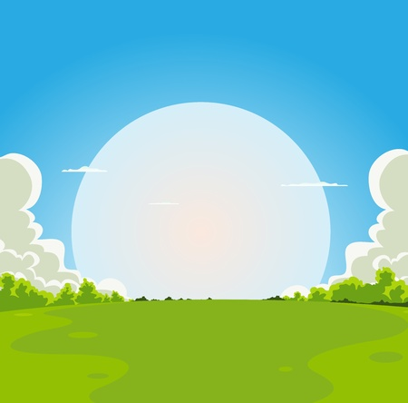 Illustration of a cartoon moon rising under spring fields landscape