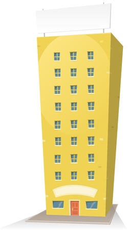 residential building: Illustration of a cartoon residential building with background sign and banner