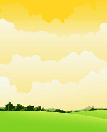 summer trees: Illustration of a summer or spring season nature background with big cloudscape  announcing probably a storm Illustration