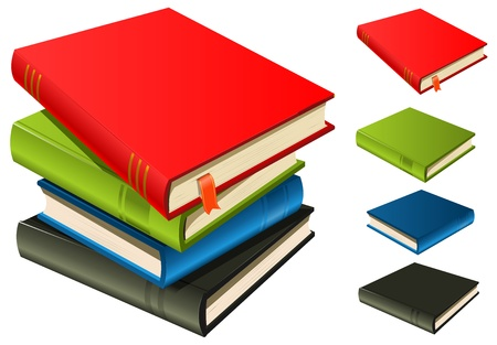 novels: Illustration of a stack of elegant books with page bookmark.