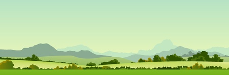 country landscape: Illustration of a wide summer season country banner or header for your web site Illustration