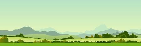 mountain meadow: Ilustraci�n de un banner pa�s el verano de ancho temporada o encabezado de su sitio web