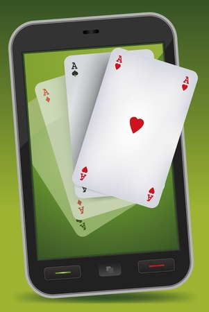 Illustration of four aces card games getting out from a smartphone background, for  poker or bridge advertisement.  Imaginary mobile phone not made from any real existing or copyrighted model Stock Vector - 11914308