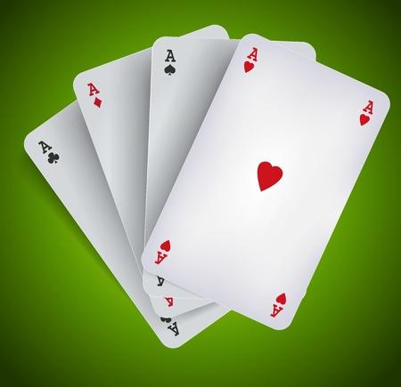jeu de cartes: Illustration des quatre aces de poker sur fond vert, pour la publicit� de poker, le bridge ou de casino