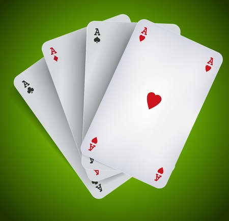 playing card symbols: Ilustraci�n de los cuatro ases del p�ker en fondo verde, para la publicidad de poker, casino o puente Vectores