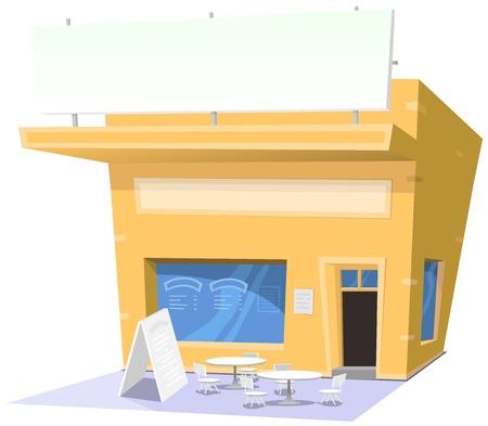 store window: Illustratie van een cartoon snack restaurant met banner en kopieer ruimte