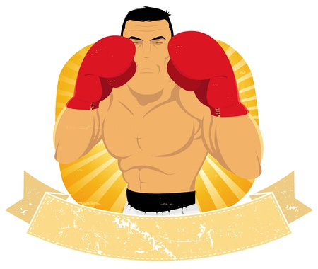 beefy: Illustration of a grunge vintage cartoon boxer banner to use for boxe and wrestling  federation