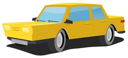 domestic car: Illustration of a simple cartoon yellow domestic car