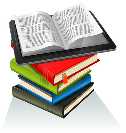 Illustration of a tablet pc e-book set upon a book stack. Imaginary model of e-book not made from a real existing product or copyrighted model Vector