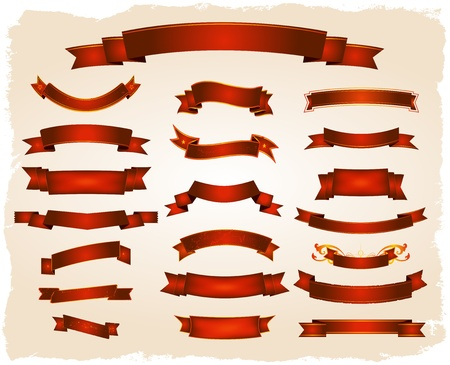 silk ribbon: Illustration of a collection of red circus banners, signs and scrolls, (using global  swatches)