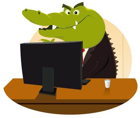 caiman: Illustration of a cartoon crocodile having selling you another mortgage, life insurance or subprime stuff !