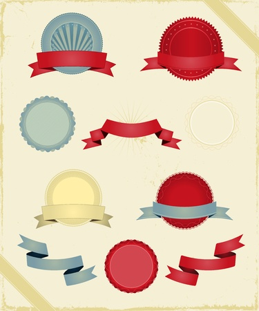 Illustration of a series of design grunge vintage ribbons, banners, labels, shields  and seal stamper Vector