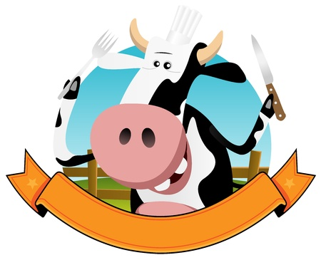 Illustration of a cartoon dairy cow holding fork and knife for farm and food banner