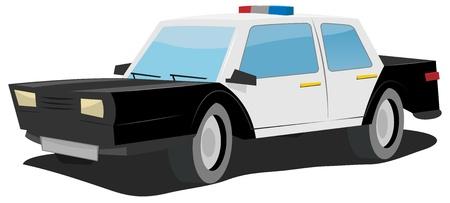 Illustration eines einfachen Schwarz-Weiß-Comic-Polizeiauto