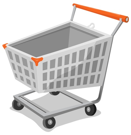 grocery cart: Illustration of a cartoon shopping cart to use as icon for e-commerce or online  shopping business.
