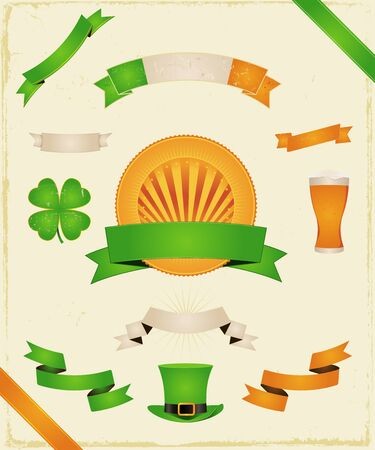 Illustration of a set of elements for St-Patrick's Day celebration, the famous irish 