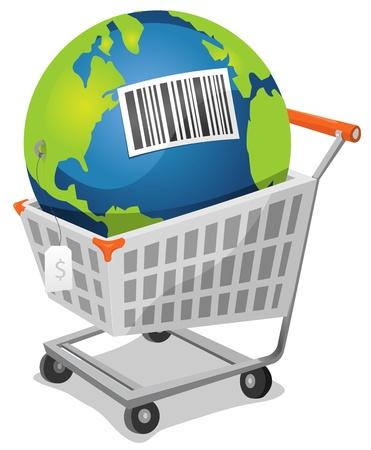capitalismo: Ilustraci�n de un mundo de dibujos animados en el interior carrito de la compra